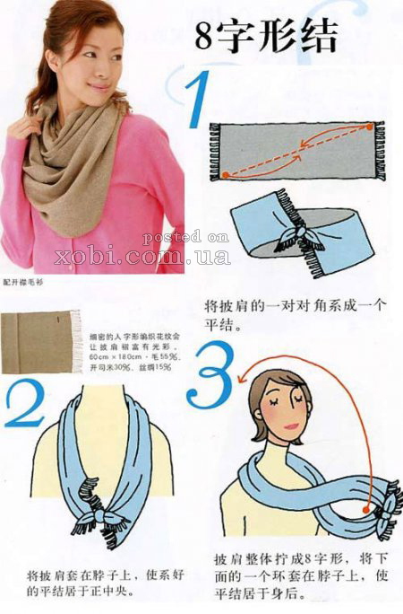 Tying scarves.